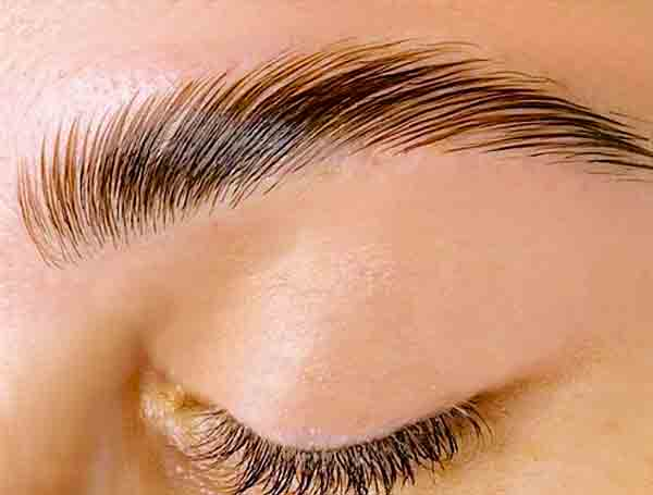 eyebrow lamination, close up image at Skye Norman hair & beauty london