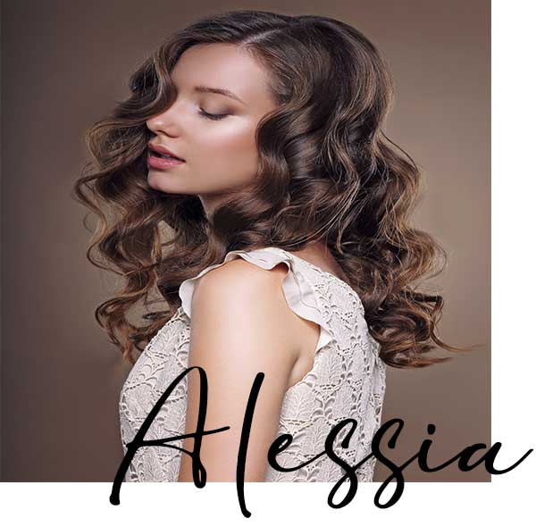 Alessia, Long brown curly hair female model posing with eyes closed in London Chelsea for Skye Norman Hair & Beauty